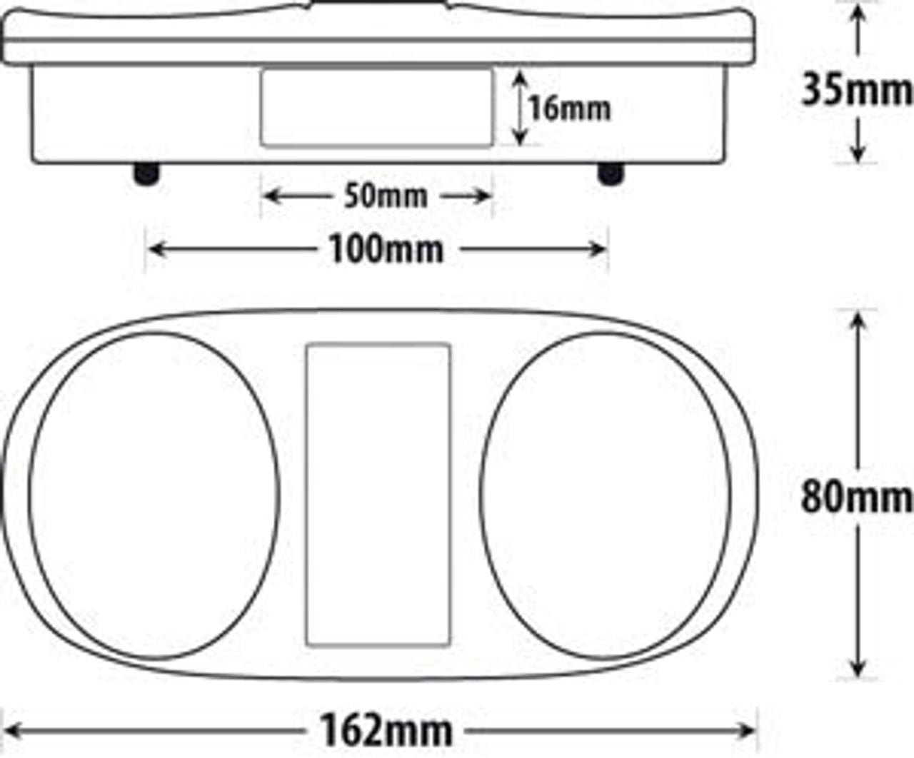 BR202 Series Line Drawing. Dimension - 162 x 80 x 35mm