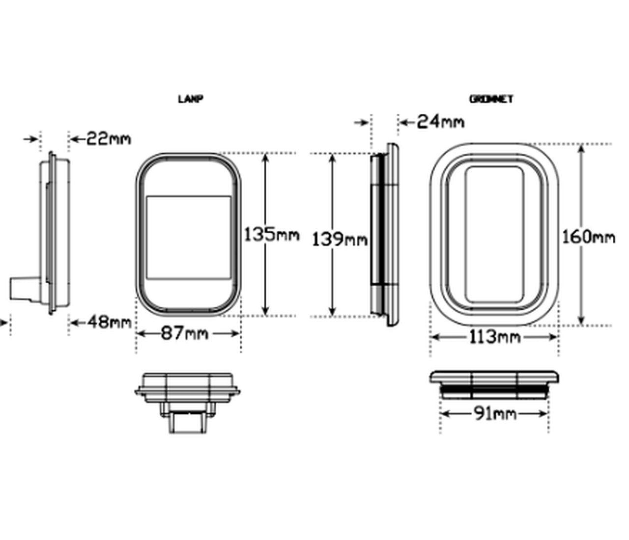 Line Drawing - 133RMG - Stop Tail Light with Reflector, Rectangle. Multi-volt Single Pack. AL. Ultimate LED.