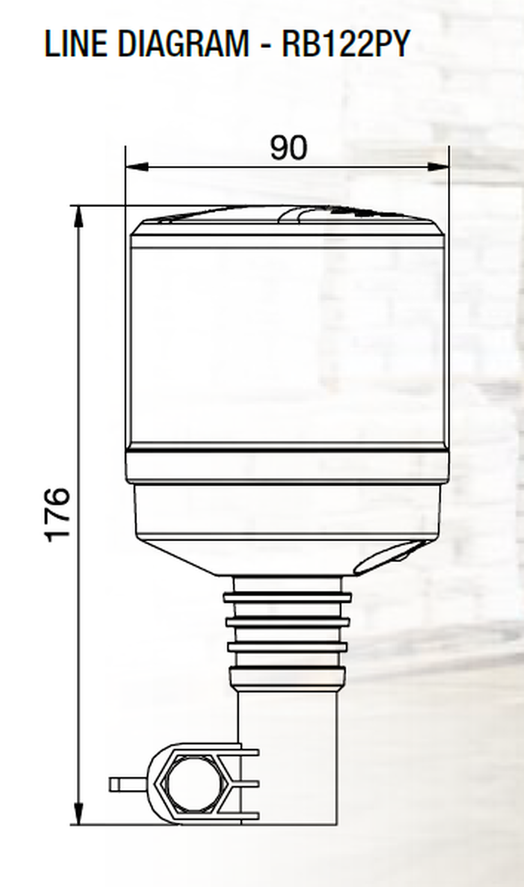 Line Drawing - RB122PY - Low Profile, Amber Safety Rotation and Strobe Beacon. Pole Mount.  Micro II Dual Stack, 33 watts RB122PY. Class 1 Certified RV. Ultimate LED.