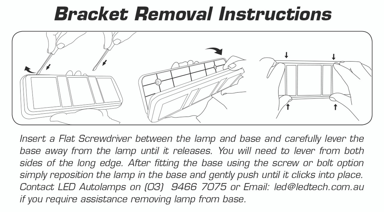 Bracket removal - 283ARWM - Stop Tail Indicator Reverse. Multi-volt, Single Pack.Screw or Bolt Mounting with Removable Bracket.  AL. Ultimate LED.
