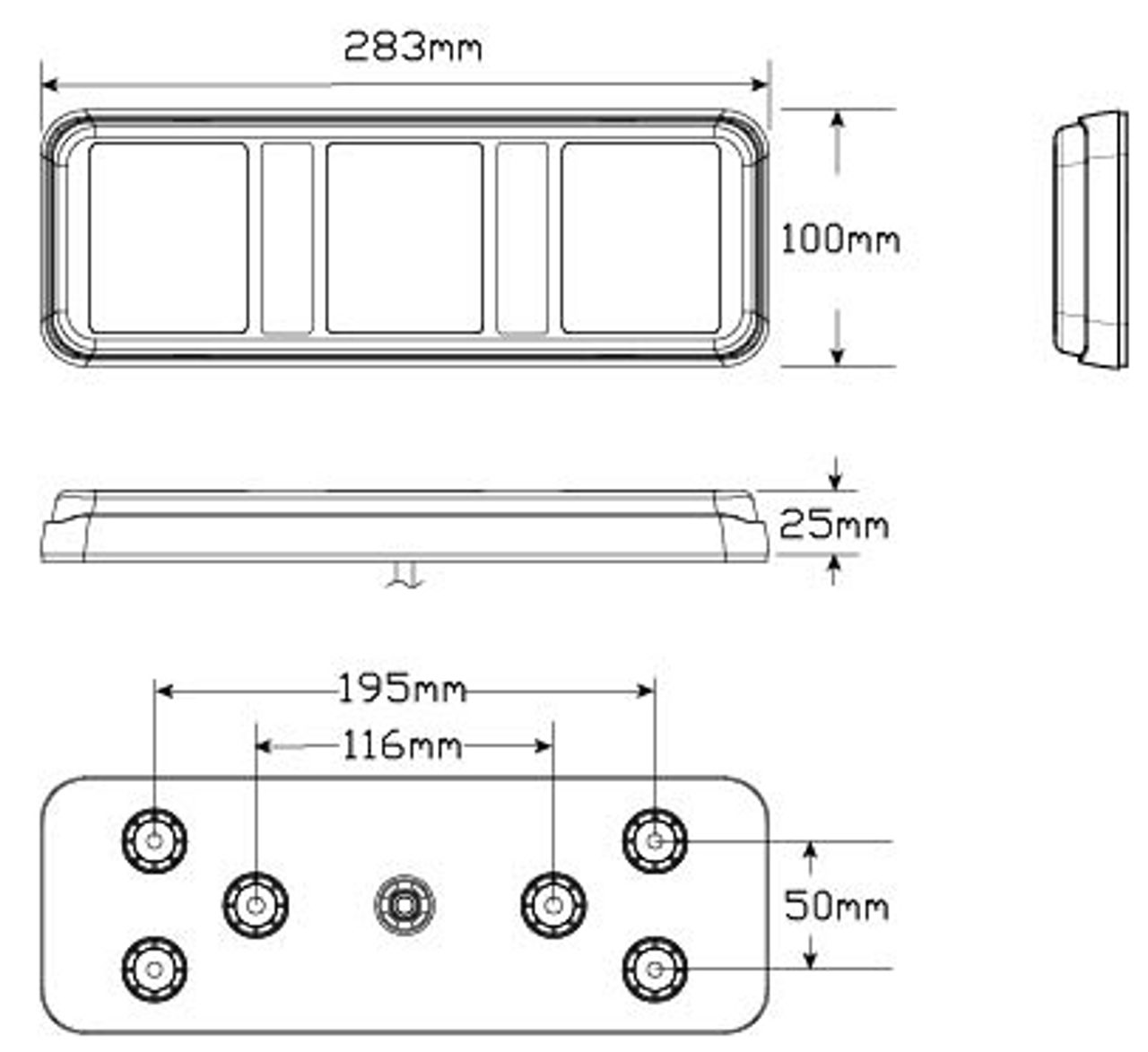 Line Drawing - 283ARWM - Stop Tail Indicator Reverse. Multi-volt, Single Pack. Screw or Bolt Mounting with Removable Bracket. AL. Ultimate LED.