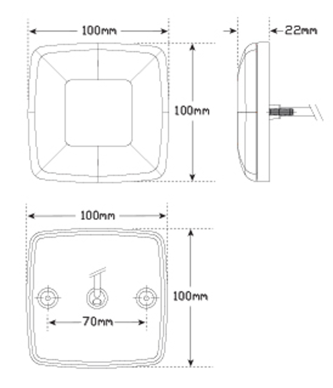 Line Drawing - 98BARLP2/10 - Stop Tail Indicator light with Reflector and Licence Plate Light, 10m cable Kit.  12v Twin pack. AL. Ultimate LED.