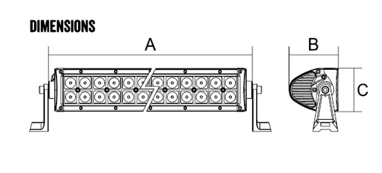 Dimensions: A = 1073mm. B = 65mm. C = 79mm Line Drawing - RBL5420C - DC2 Series Dual Row 42 inch Light Bar. 240 watt Osram Hi-Lux LED's. Combination Optical Beam. 9 Position Adjustable Mounting Options. RBL5420C. Premium Driving Light Bar. RoadVision. Ultimate LED.