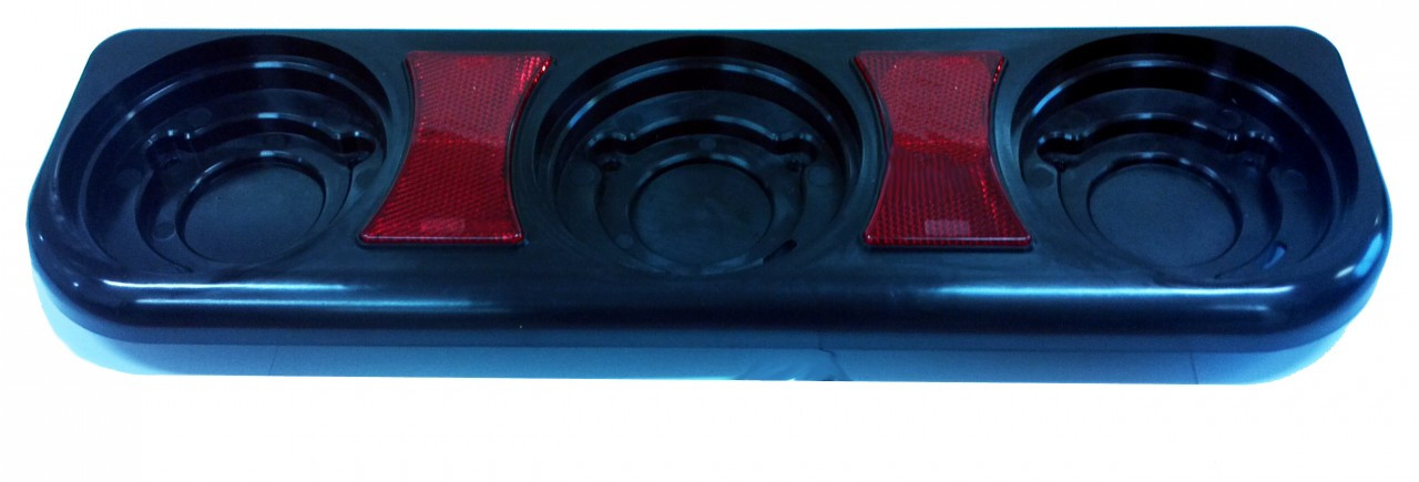 3 Gang Mounting Bracket to Suit: BR120 Series with Reflectors. Black Base. Dimensions: 410mm X 120mm X 45mm