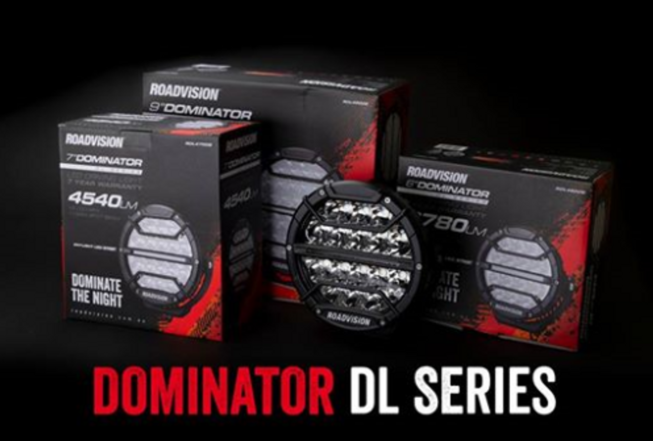 20RV18. RDL4900S Roadvison 9 inch Dominator DL Series Driving Lights with Daytime Running Lights.  102 watts. Tough and Durable.