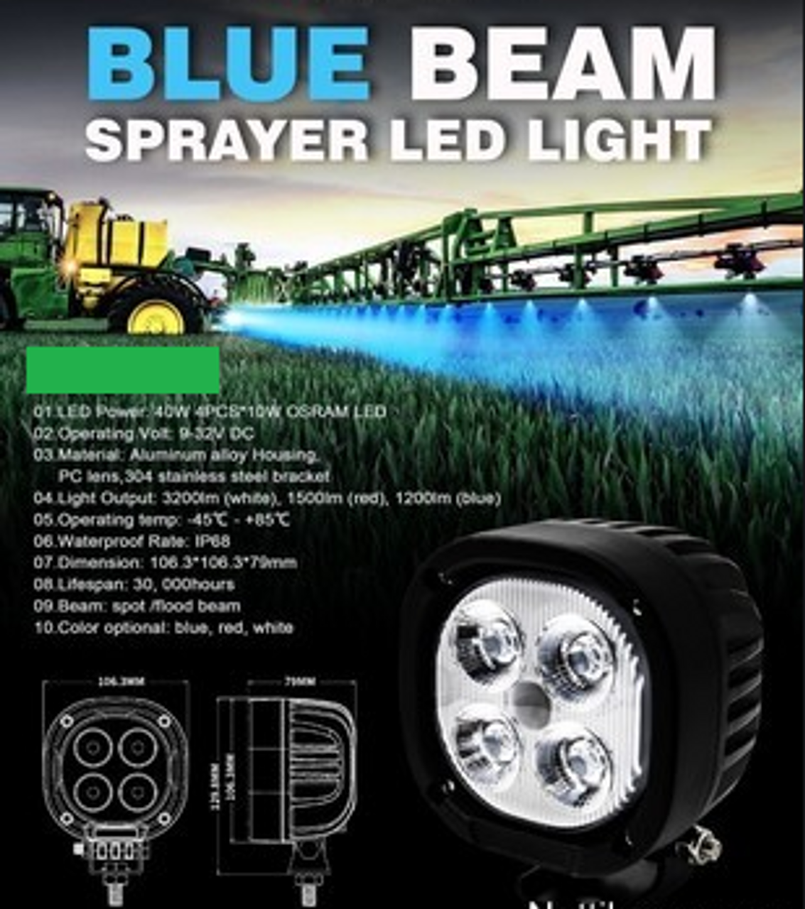 Agricultural Boom Spray Illumination LED Blue Light. Crop Spraying Illumination. Blue Chicken Farm Night Light. Turkey Farm Night Light. Animal Night Light.