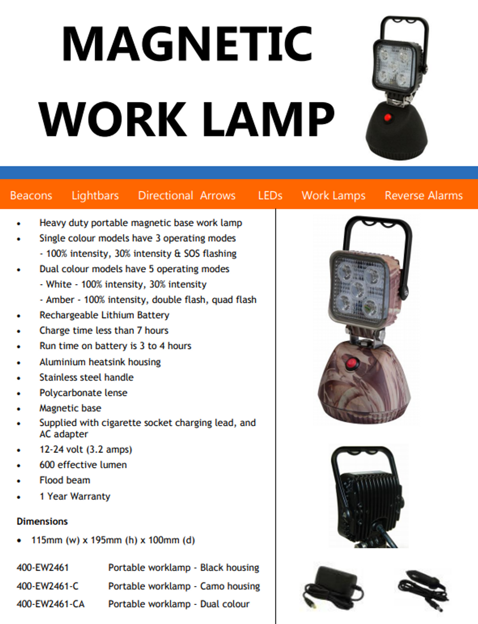 Portable Flood Light, Battery Operated, Magnetic Mount, Rechargeable, LED Work Light, 15 watt. EW2461-CA-AU. Complete Package. Black Colour Housing. White & Amber Emergency LED's. Great Camping Light