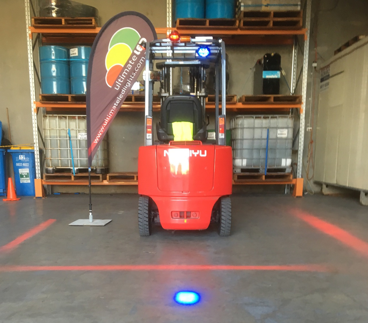 Forklift Workplace Safety Halo System. Create a Safety Halo around your Forklift. Red Zone Danger Area, Warning Safety Warehouse light. Create a NO Go Zone. Ultimate LED.