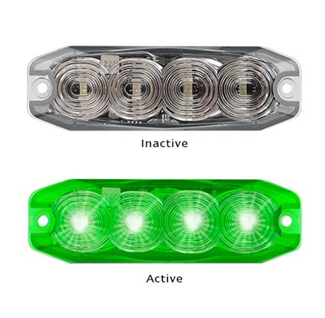 Emergency LED Strobe Module Lamp Green. 11 Strobe Patterns Multi-Volt 12-24 Volt 3M Tape or Screw On Fitting. Single Pack Clear Housing Clear Lens & Green LED's Super Slim Line Light – Go Stealth 120034GM