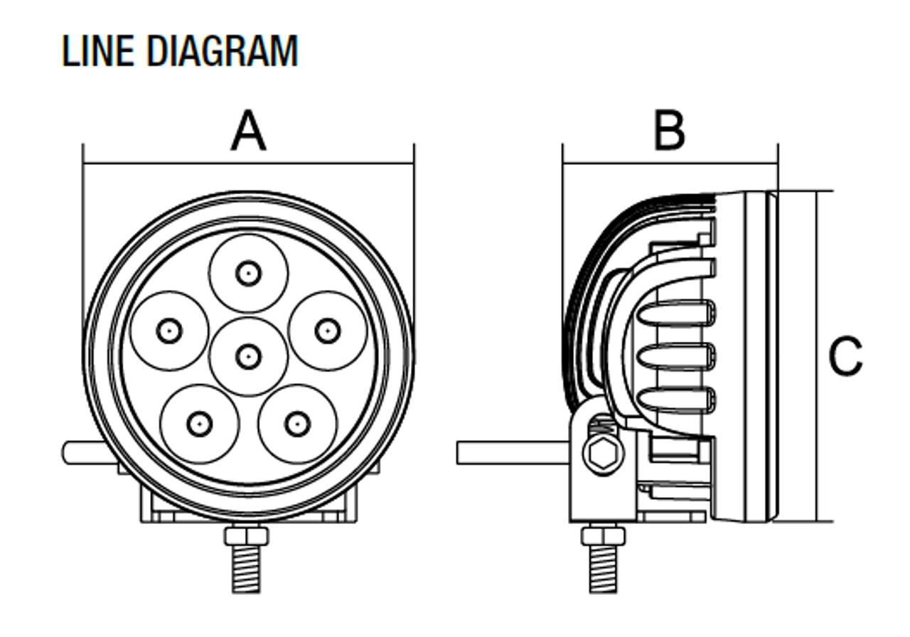 Line Drawing - RWL9518F - 90 mm Round LED Flood Work Light. 18 Watt. Multi-Volt 10 to 30 Volt DC. 5 Year Warranty. RoadVision. RWL9518F.