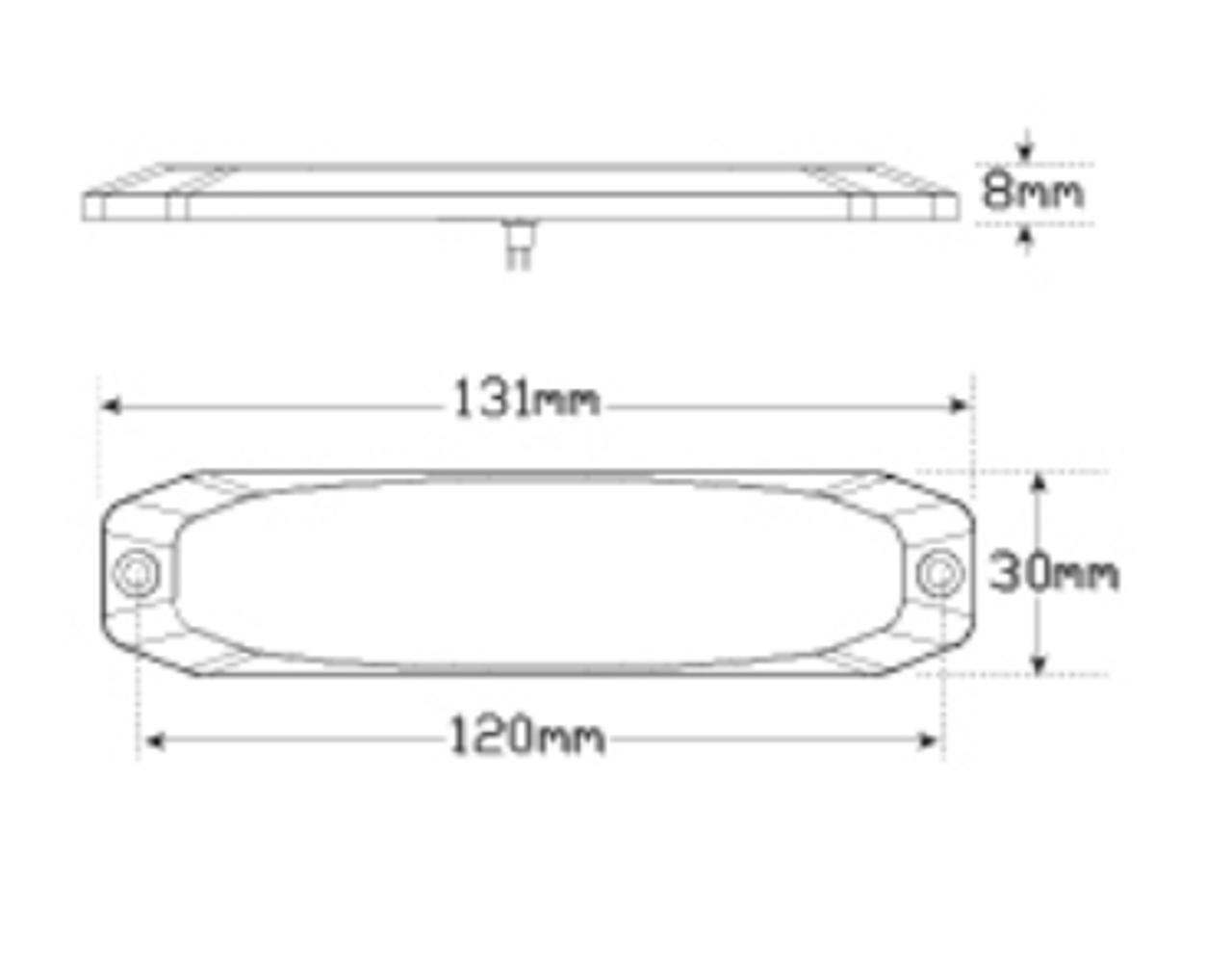 Line Drawing - 120035WM - Emergency Lamp Strobe White Clear Lens Multi-volt Single Pack. AL. Ultimate LED.