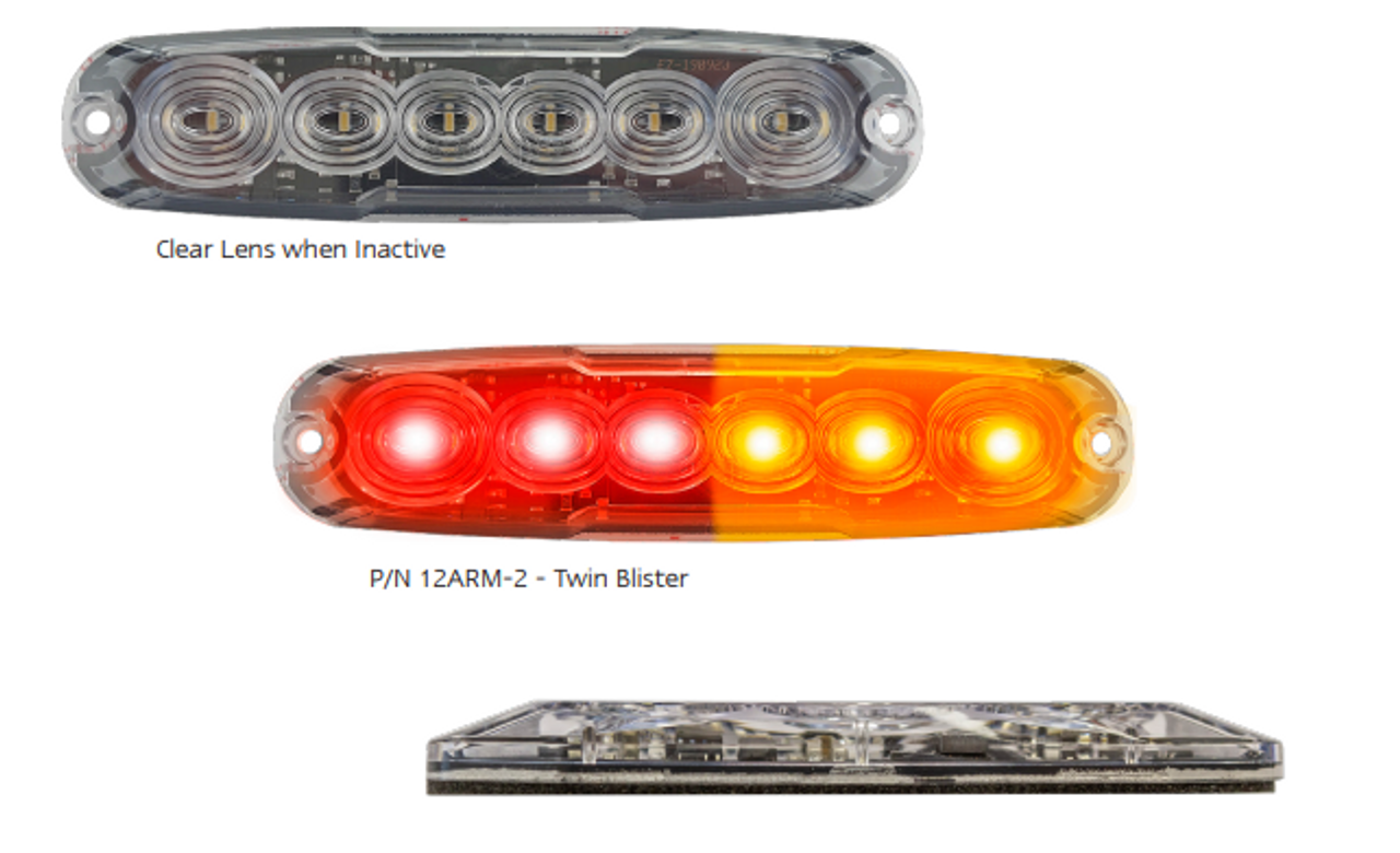 12ARM-2 - Stop, Tail & Indicator LED Slim Line Tail Lamp. Multi-Volt 12v & 24 Volt. Surface Mount Fitting. Twin Pack Clear Housing & Coloured LED's. Super Slim Light. ADR Approved. Cars, Trucks, Bikes, Trailers, Caravans, Camper Trailers. Autolamps. Ultimate LED.