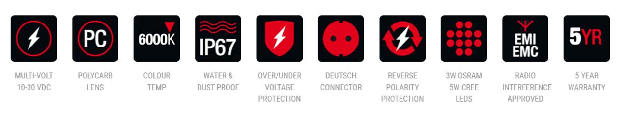 RWL530F - Square 30 Watt LED Flood Beam Work Light. 30 Watt. Multi-Volt 10v & 30 Volt DC. 5 Year Warranty. Flood Beam 30 watts, 2700Lm. great Work Light. Roadvision. Ultimate LED.
