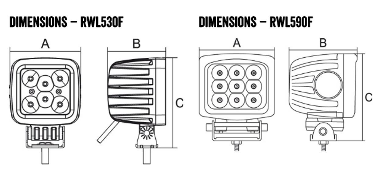 Line Drawing - RWL5180F - Square 150 Watt LED Flood Beam Work Light. 150 Watt. Multi-Volt 10v to 30 Volt DC. 5 Year Warranty.  Flood Beam 150 watts, 12000Lm. great Work Light. Roadvision. Ultimate LED.