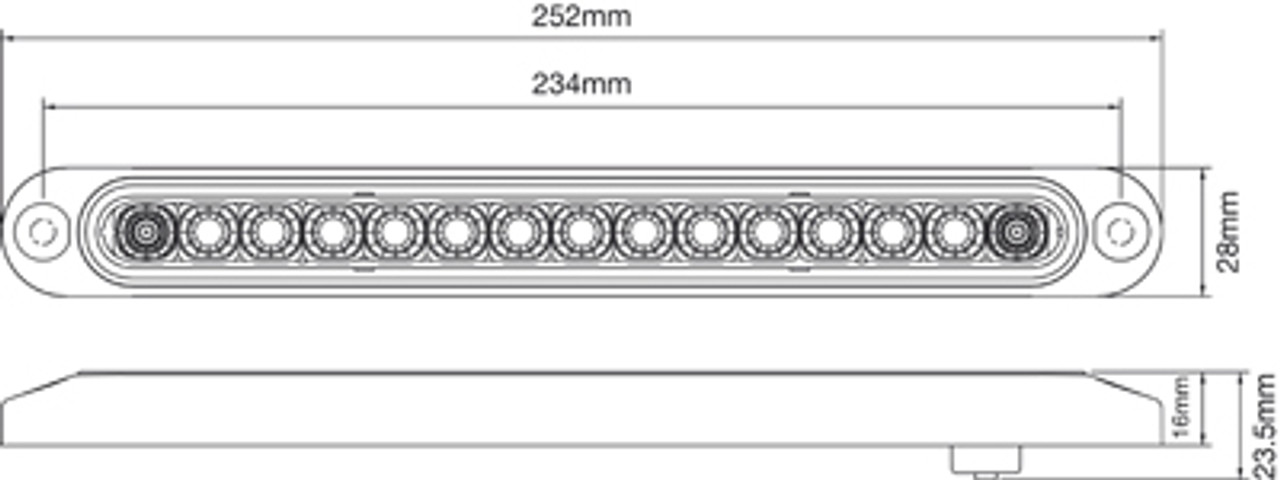 Line Drawing. No cut outs. Just drill your holes and fit. Dimensions - 252 x 28 x 24mm