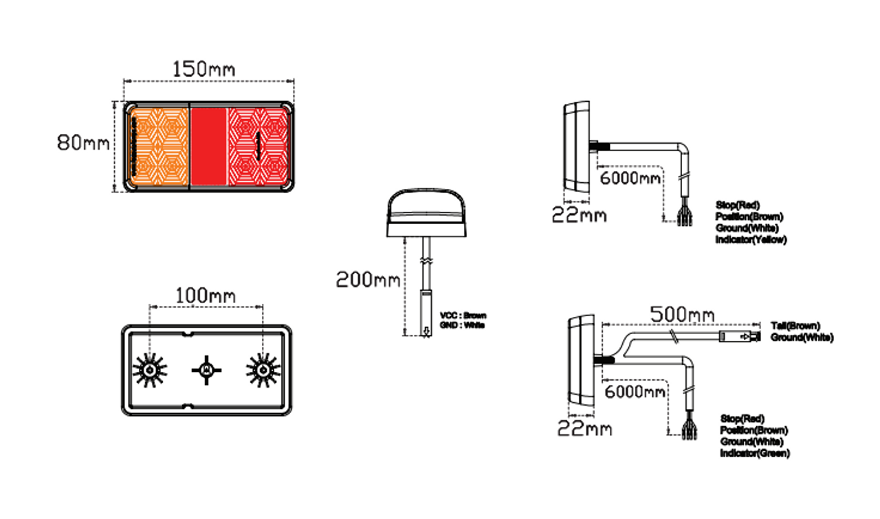 Line Drawing - H155BARLP2/6 - Small Trailer Combination Tail Lights. Stop, Tail, Indicator Light, with Reflector and Licence Plate Light. 12v Blister Twin Pack 6M Trailer Kit. LED Auto Lamps. Ultimate LED.