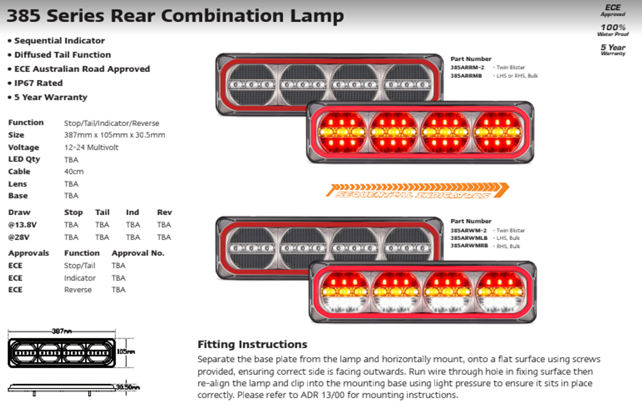 Data Sheet - 385ARWM-2 - Combination Tail Light. Medium Tray & Truck Series Light. Diffused Tail Function. Sequential Indicator. Clear Lens. Stop, Tail, Indicator and Reverse Lights. Twin Pack. Multi-Volt 12v & 24v. Autolamp.  Ultimate LED.