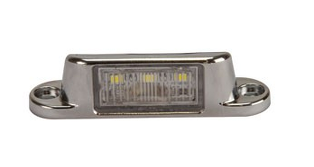 Rear Low Profile Licence Plate Light with Chrome Housing. ADR Approved 12 to 24 Volt DC Systems LED lights, Tough Unit, 5 Year Warranty. New Release. BR15C