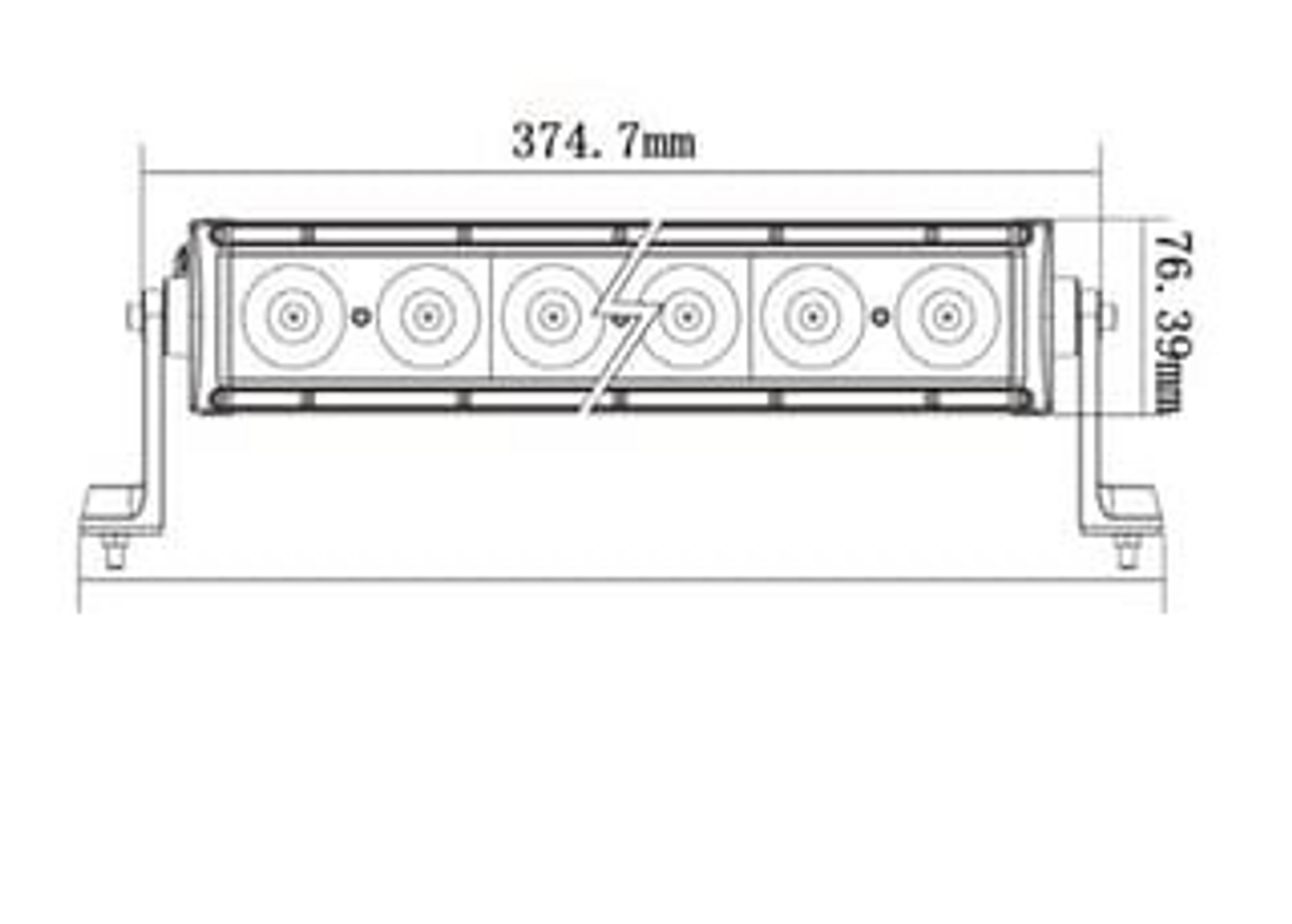 Line Drawing. Combination Light Bar. 14 inch. 10 watts per LED. 5 Year Warranty. Ultimate LED