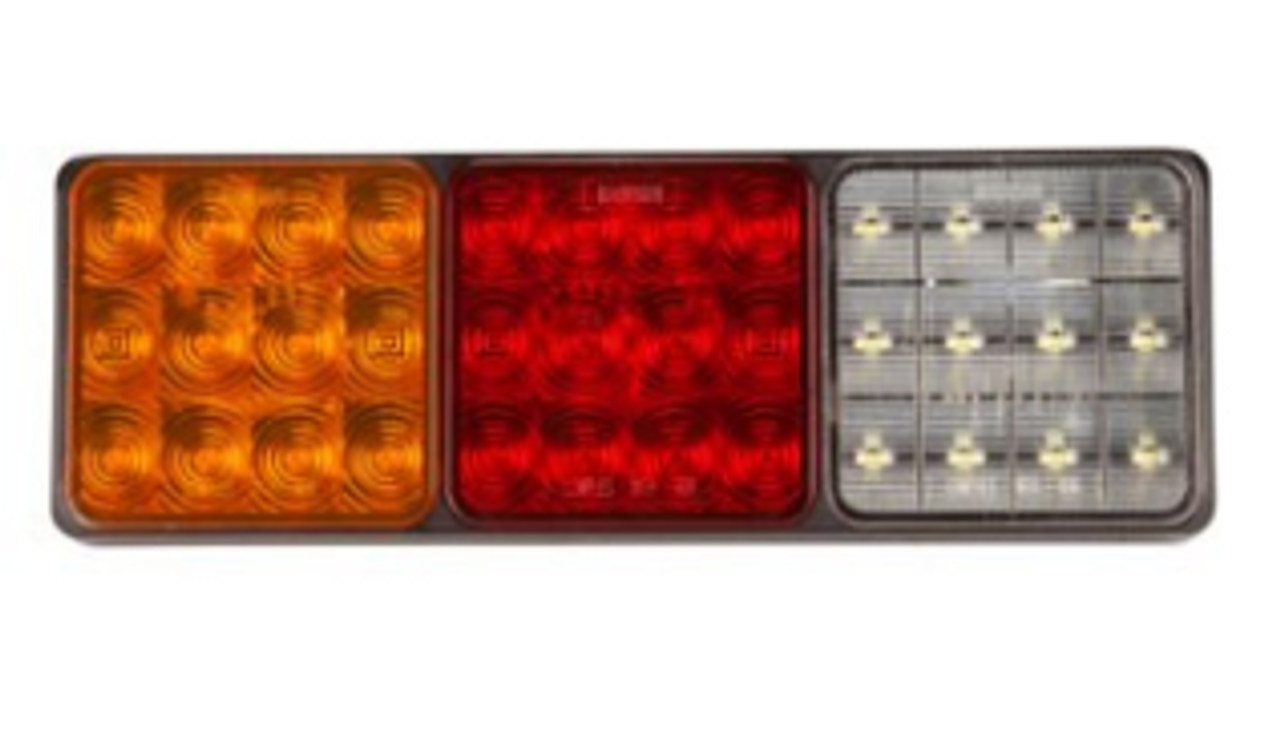 Rectangle Quad Combination Tail Light LED Assembly. Multi-Volt, 12 & 24 Volt DC Systems. Bright & Slim. Stop, Tail, Indicator & Reverse LED Light. Roadvision Product. Amazing Light for its size. 5 Year Warranty. BR82ARW Single Pack
