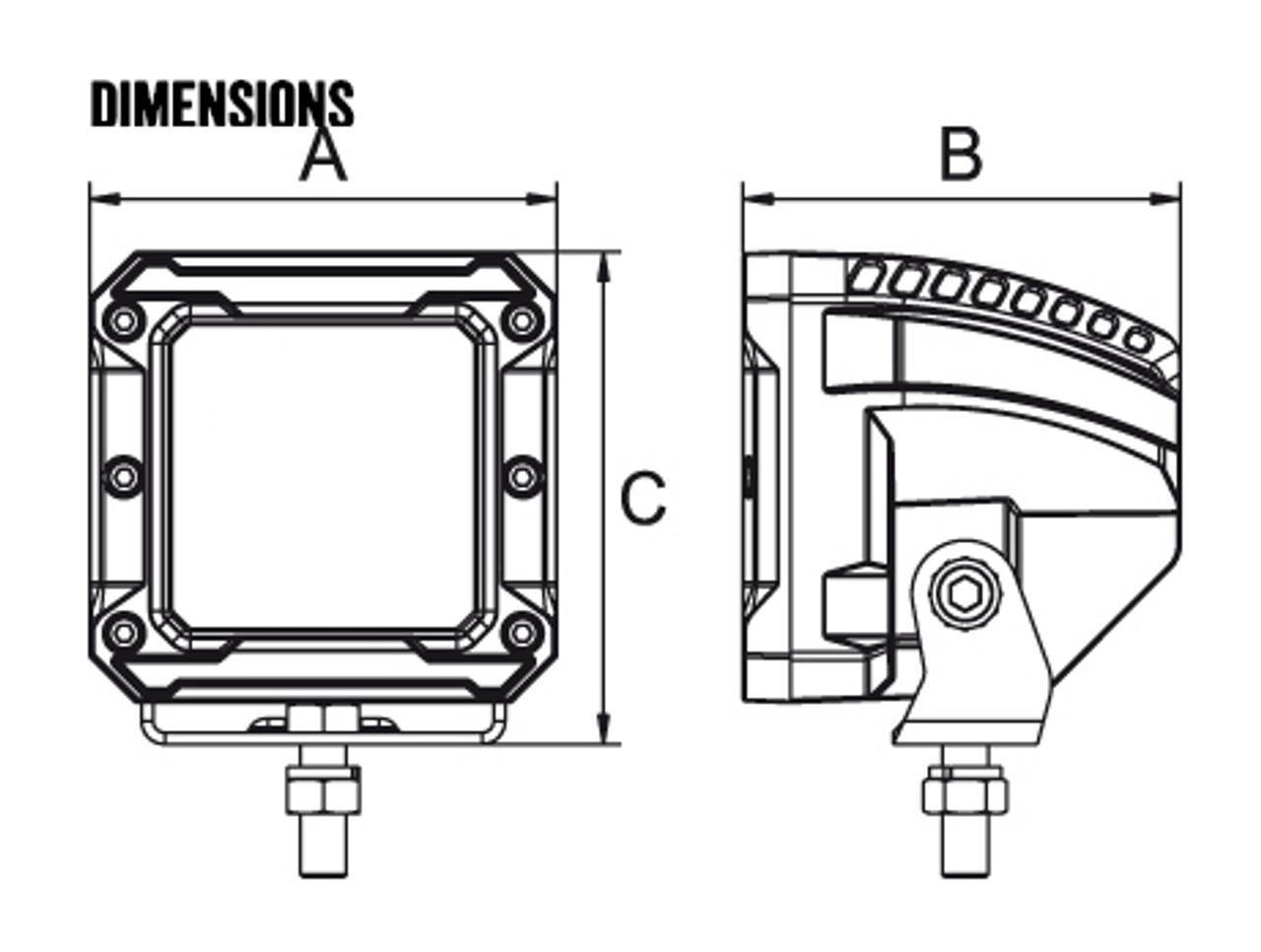 Line Drawing - RWL3618S - 3 Inch Square LED Spot Beam Work Light. 18 Watt. Multi-Volt 10 to 30 Volt DC. 5 Year Warranty. Spot Beam 12 watts. Roadvision. Ultimate LED.