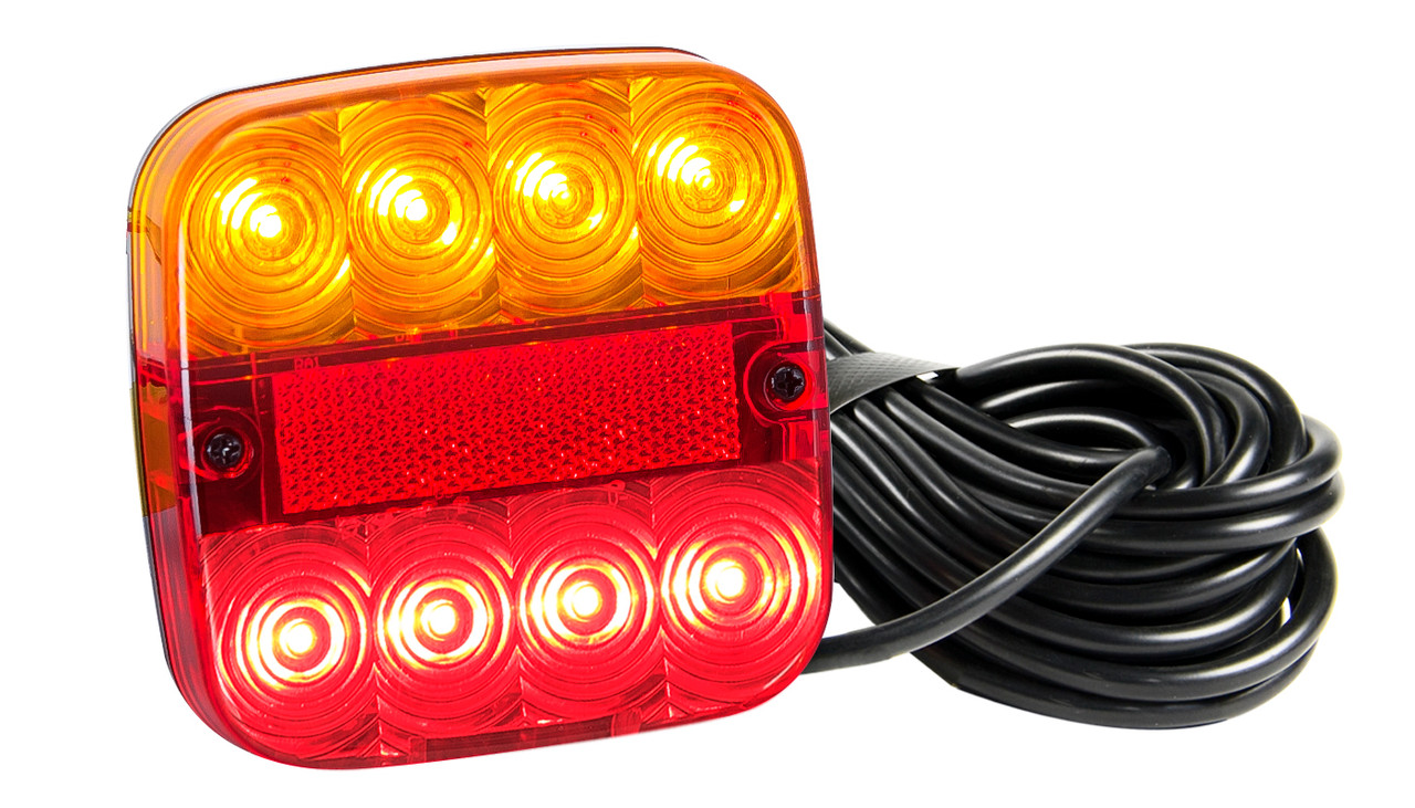 99ARLM10 - Marine Lamp. Rear Combination Lights. 10 Metre Trailer Kit. Stop, Tail, Indicator with Licence Plate Light and Reflector. Twin Pack. Autolamps. Ultimate LED.