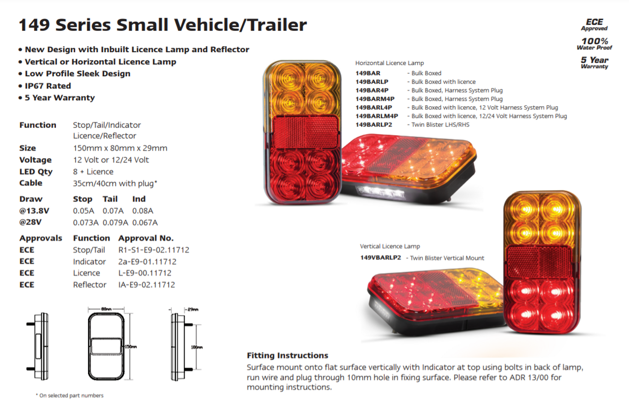 Trailer Lamp and Cable Kit. Boat Trailers  Up To 10m. Submersible Lights.  Harness System Compatible. Inbuilt Licence Plate Light. 12v Only. 5 Year Warranty. Autolamps. 149BARLP2/10.