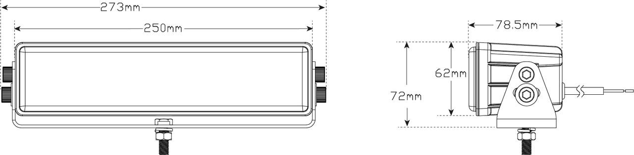 Line Drawing - HL250 - Low Beam Lightbar. Swivel, Tilt Bracket Mount. High Brightness LEDs. Heavy Duty Design. 5 Year Warranty. Multi-Volt 12v & 24v. Tough Steel Bracket. Autolamps.  Ultimate LED.