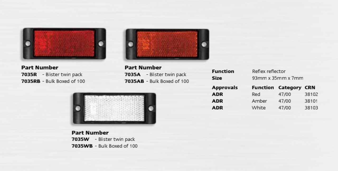 Data Sheet - 7035A - Amber Reflex Reflector with Black Housing. Twin Pack. Screw Mount. Premium Quality. Low Profile Design. ADR Approved. Autolamp. Ultimate LED.