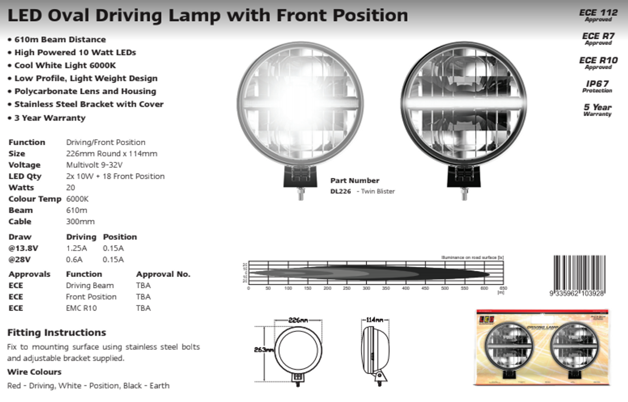 Data Sheet - DL226 - Driving, Front Position Light. Twin Pack. High Powered Driving Lamp. Multi-Volt 12v & 24v. Autolamp. Ultimate LED.