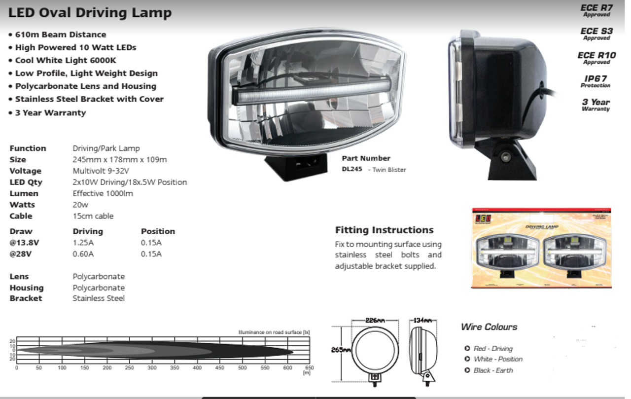 Data Sheet - DL245 - Oval Driving Lamp. Driving, Front Position Light. Road Approved. 5 Year Warranty. Twin Pack. Multi-Volt 12v & 24v. Autolamp. Ultimate LED.
