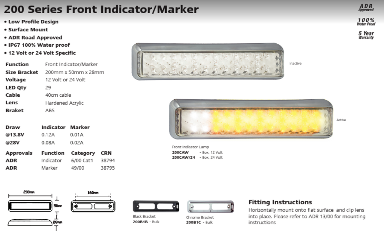 Data Sheet - 200CAW24 - Front Indicator Marker Lamp. 24v Only. Clear Lens & Amber and White LED. Shock, Dust and Waterproof. 5 Year Warranty. Single Pack. LED Auto Lamps. Ultimate LED.