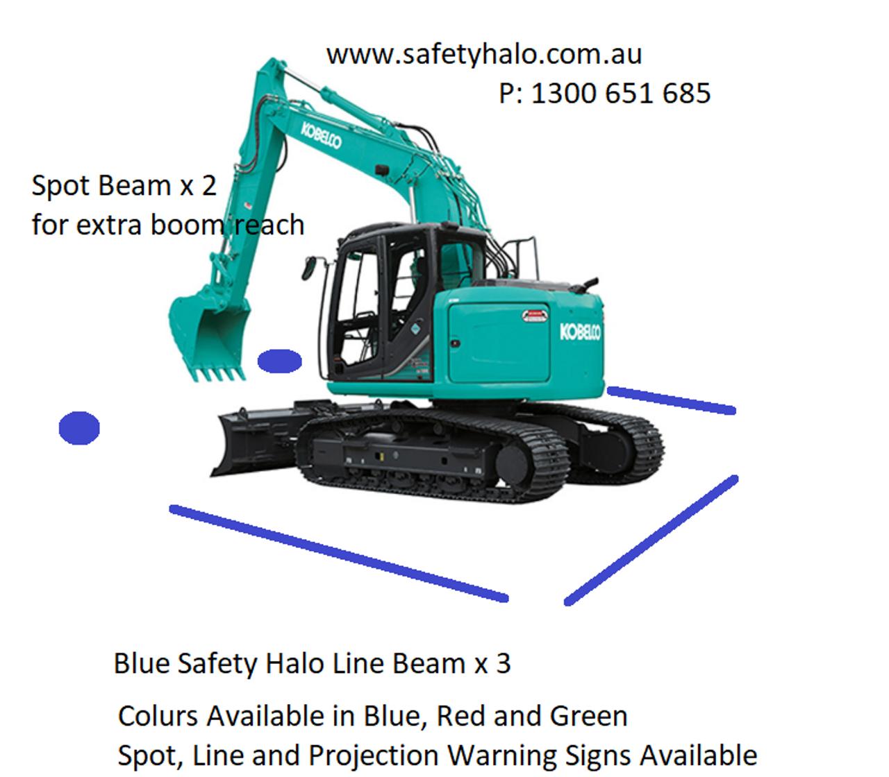 Blue Workplace Safety Halo Light. Machine Blue Spot Awareness Light. Workplace Pedestrian Safety Light. 25 watts. Ultimate LED. Australia. FLBS-25