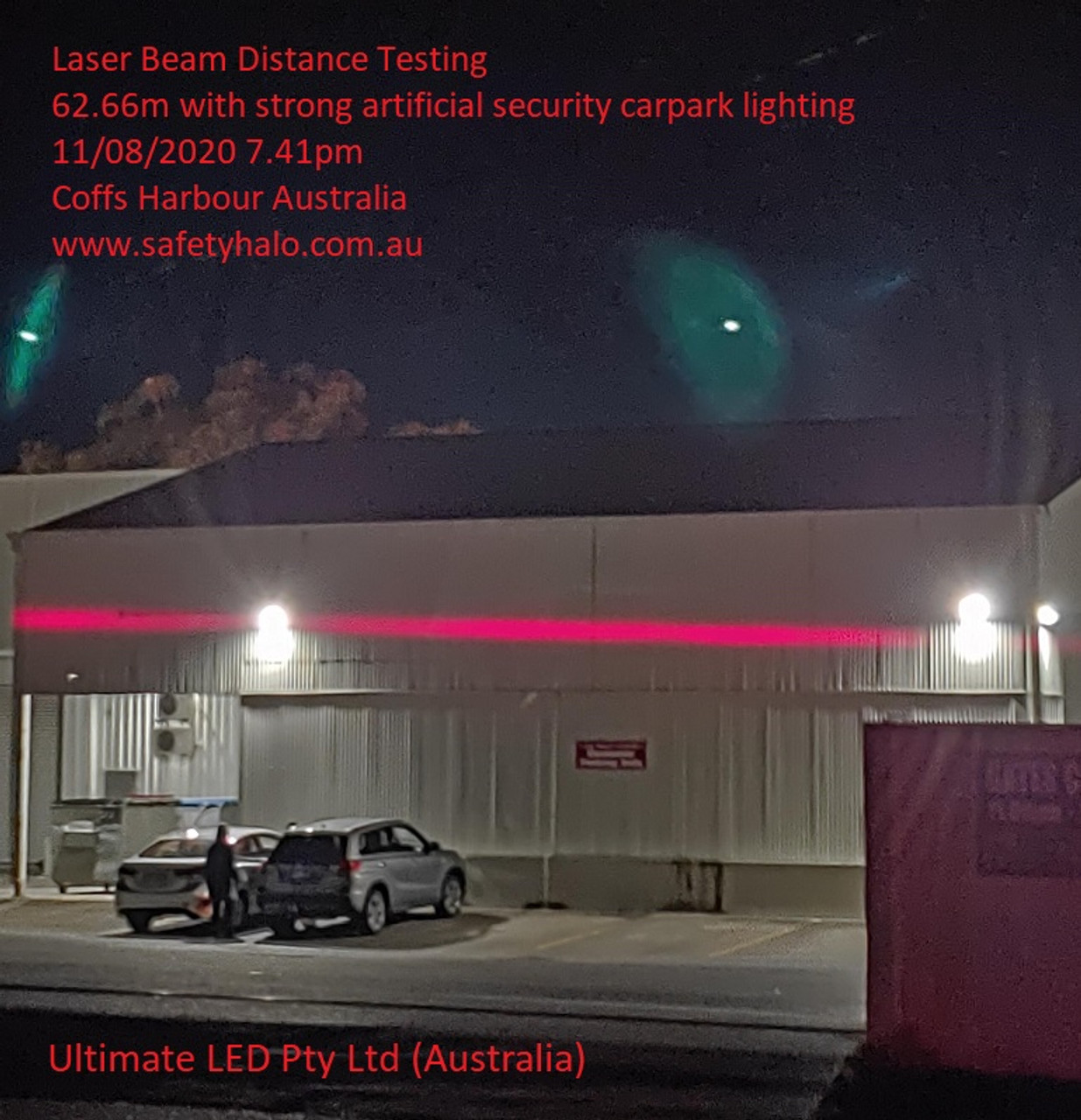 Tested at 62.66m into a well lite secure car park