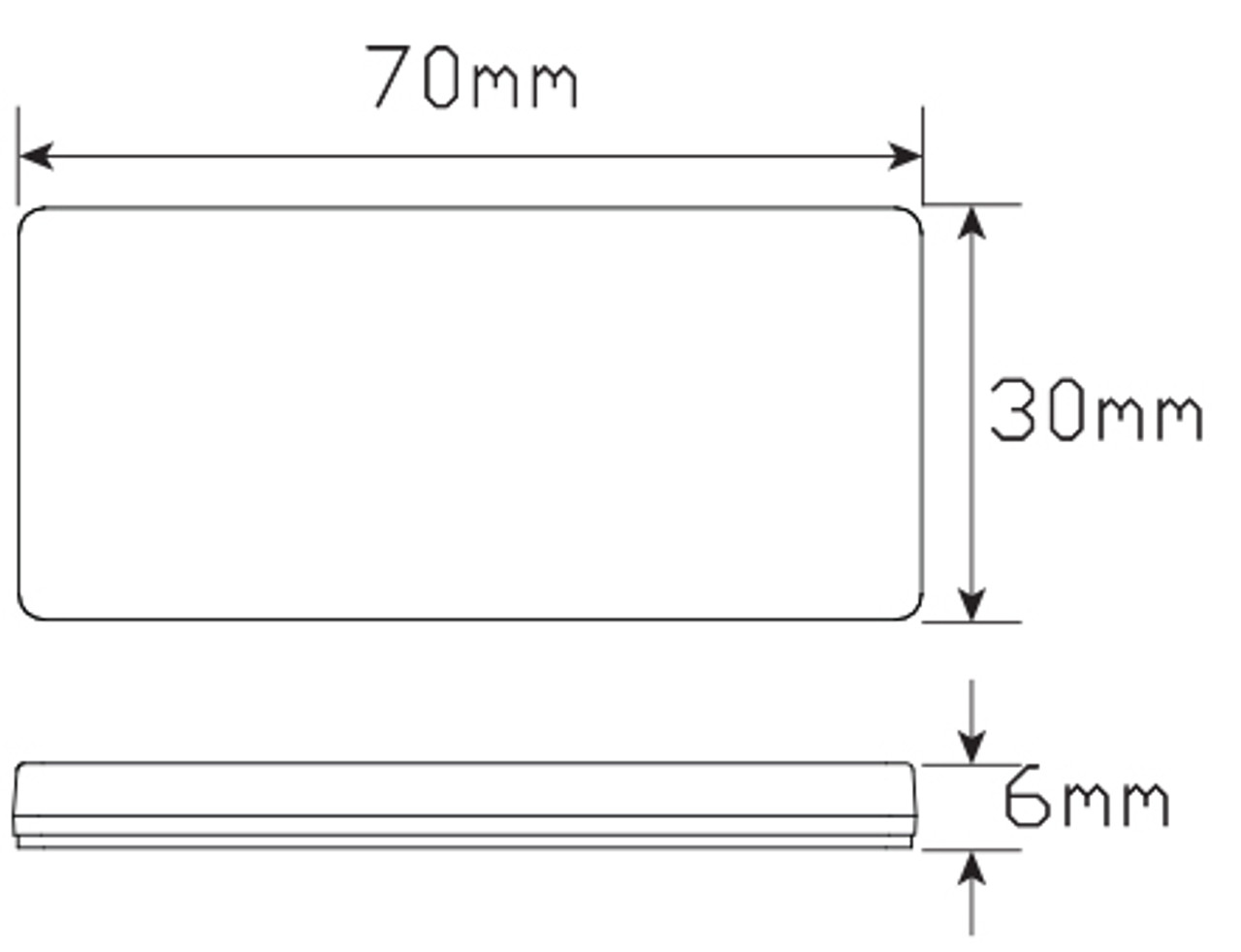 Line Drawing - 7030WB - White Reflex Reflector. Box of 100. 3m Tape Mount. Premium Quality. Low Profile Design. ADR Approved. Autolamp. Ultimate LED.