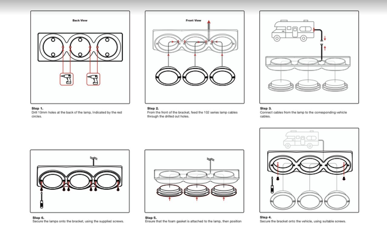 Installation Instructions - 102B3C - Triple Chrome Bracket. Triple Surface Mount Base. To Suite 102 Series. Autolamp.