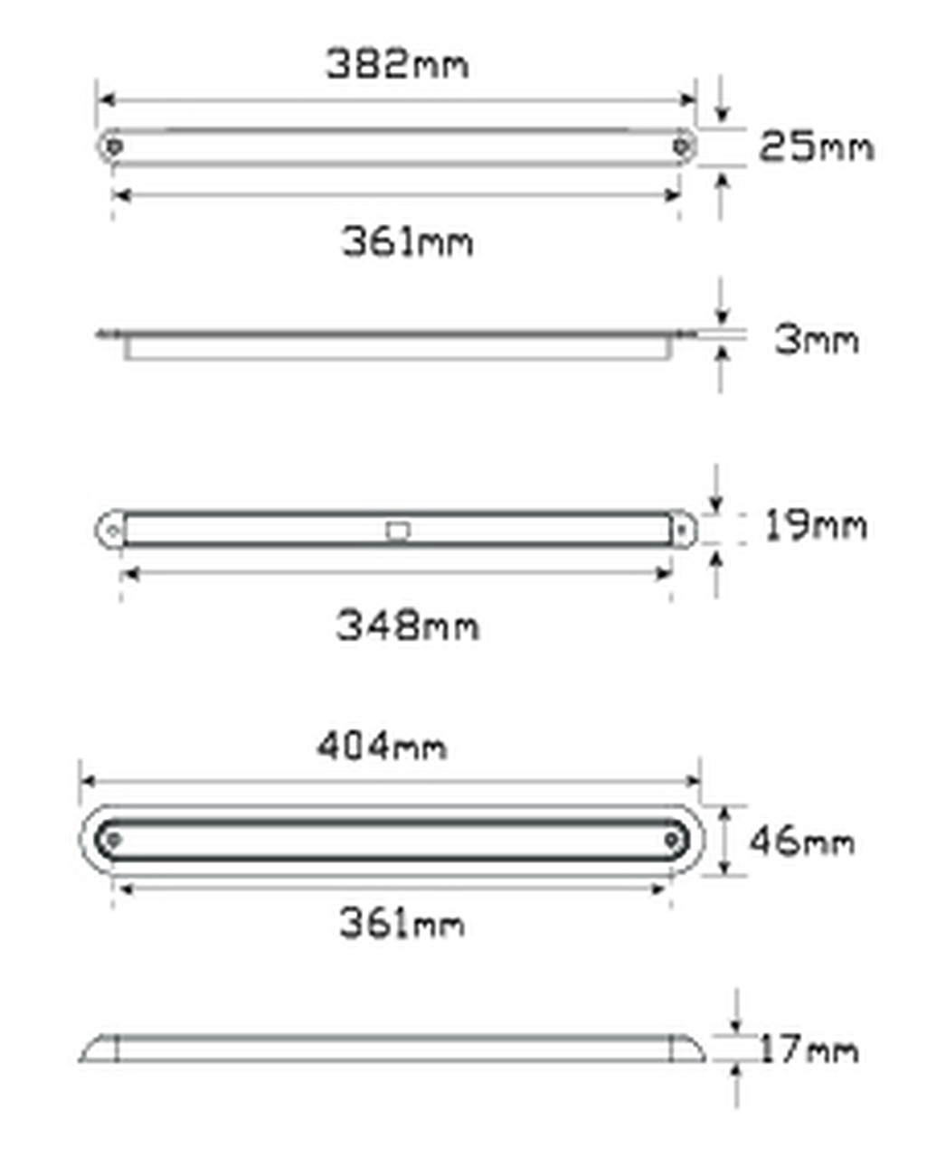 Line Drawing - 380CR12 - Stop, Tail Strip Light. Low Profile. Slimline Design. Chrome Bracket. 12v Only. Single Pack. 5 Year Warranty. Autolamp. Ultimate LED.