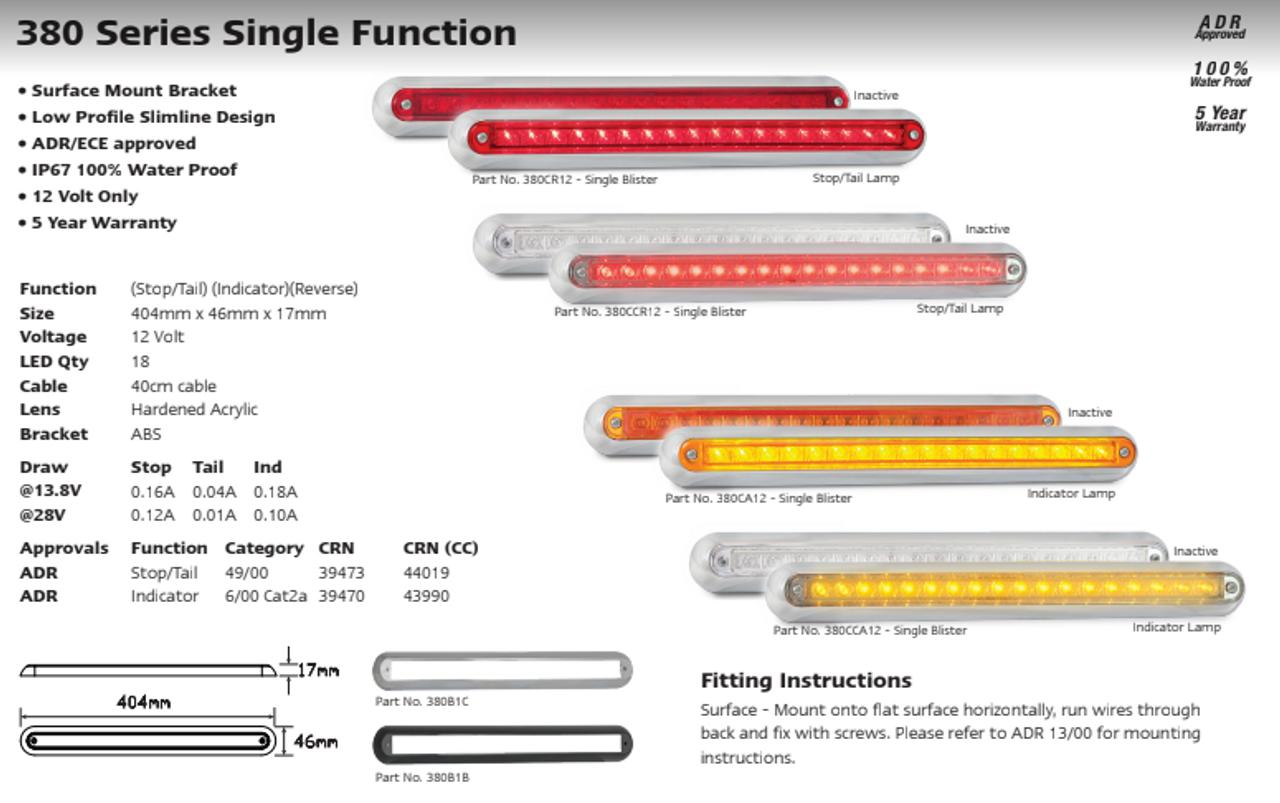 Data Sheet - 380CR12 - Stop, Tail Strip Light. Low Profile. Slimline Design. Chrome Bracket. 12v Only. Single Pack. 5 Year Warranty. Autolamp. Ultimate LED.
