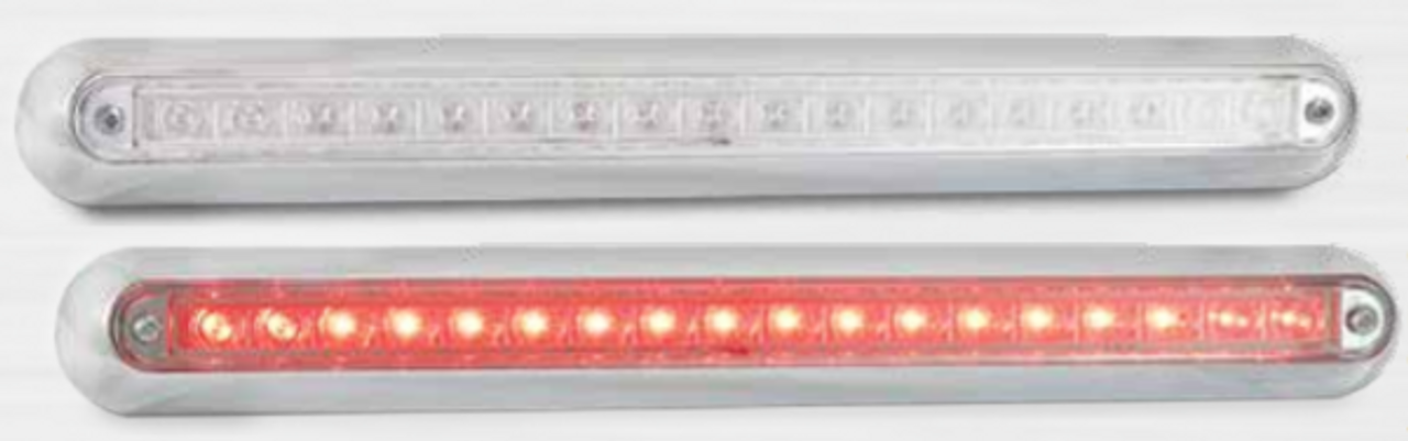 380CR12 - Stop, Tail Strip Light. Clear Lens with Red LED's Low Profile. Slimline Design. Chrome Bracket. 12v Only. Single Pack. 5 Year Warranty. Autolamp. Ultimate LED.