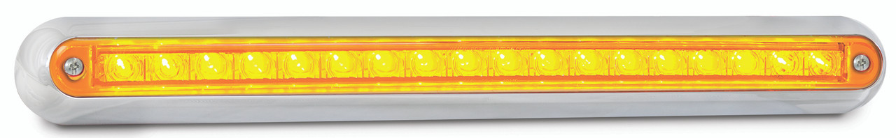 380CA12 - Rear Indicator Strip Light. Low Profile. Slimline Design. Chrome Bracket. 12v Only. Single Pack. 5 Year Warranty. Autolamp. Ultimate LED.