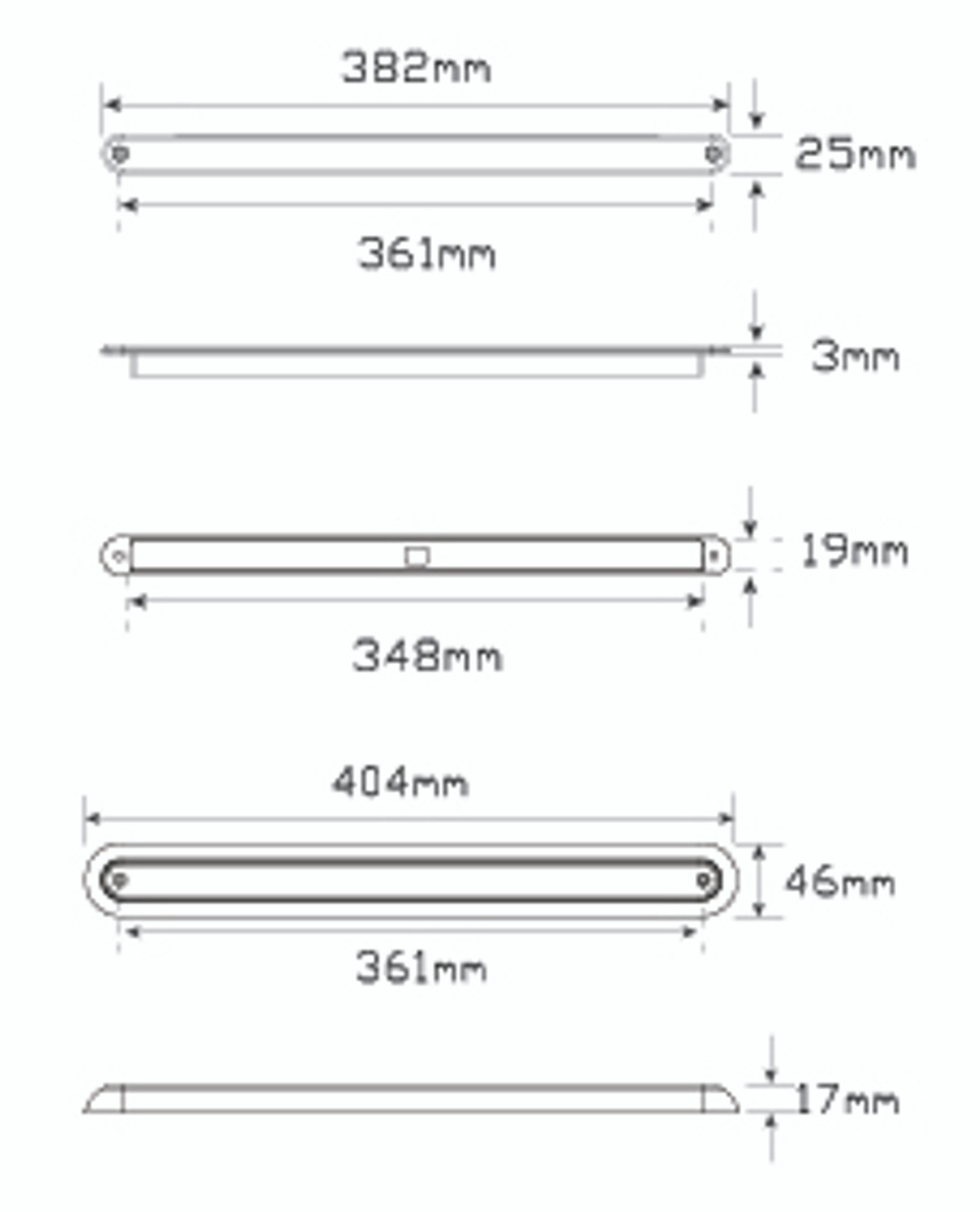 Line Drawing - 380CA12 - Rear Indicator Strip Light. Low Profile. Slimline Design. Chrome Bracket. 12v Only. Single Pack. 5 Year Warranty. Autolamp. Ultimate LED.