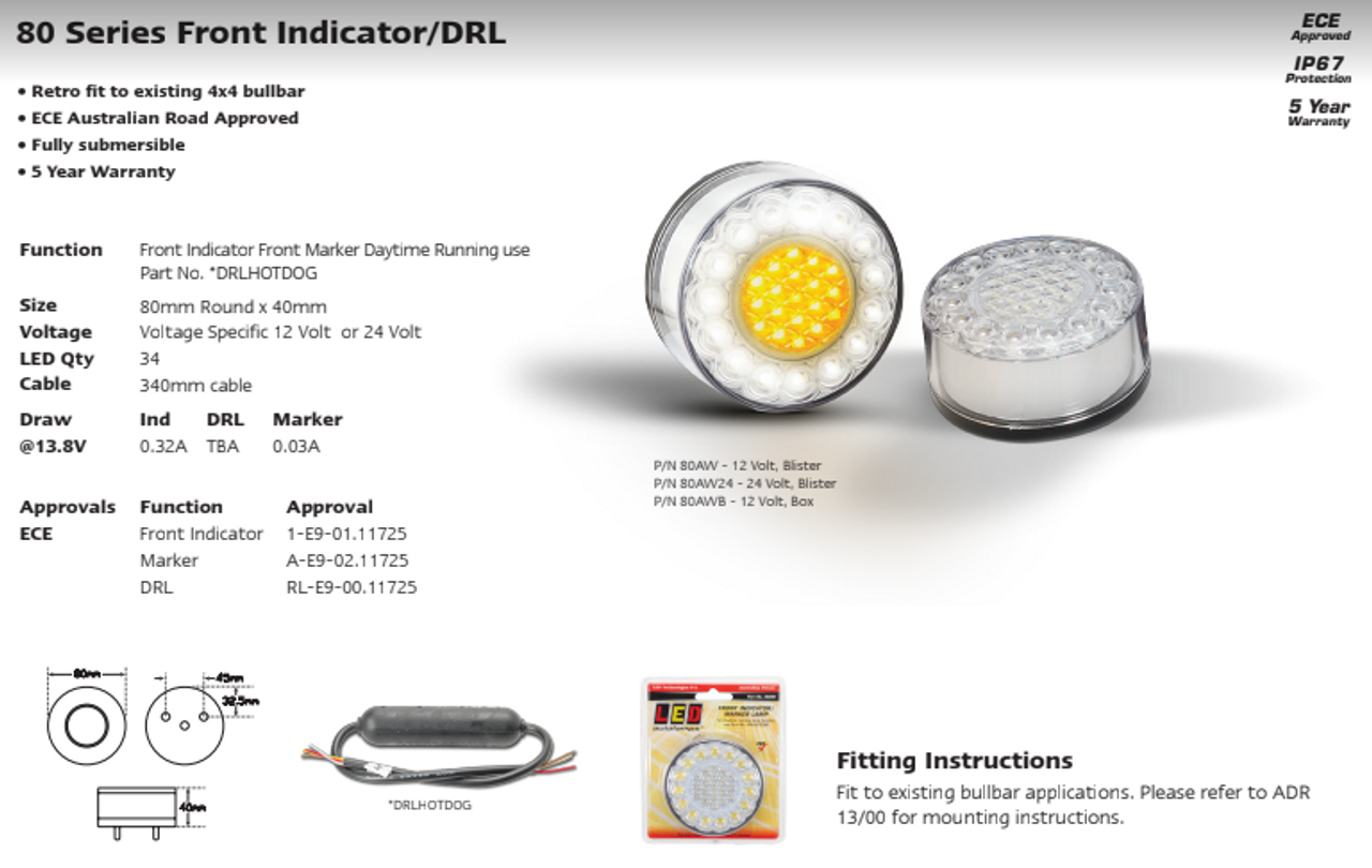 Data Sheet - 80AW - Front Indicator Marker Lamp 24v, Clear Lens & Amber and White LED Single Pack. LED Auto Lamps. Ultimate LED.