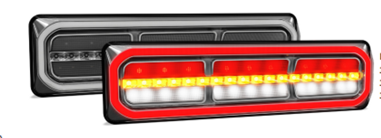 38541ARWM-2 - Combination Tail Light. Medium Tray & Truck Series Light. Diffused Tail Function. Sequential Indicator. Clear Lens. Stop, Tail, Indicator and Reverse Lights. Twin Pack. Multi-Volt 12v & 24v. Autolamp.  Ultimate LED.