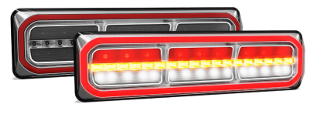 3854ARWM-2 - Combination Tail Light. Medium Tray & Truck Series Light. Diffused Tail Function with Outer Ring. Sequential Indicator. Clear Lens. Stop, Tail, Indicator and Reverse Lights. Twin Pack. Multi-Volt 12v & 24v. Autolamp.  Ultimate LED.