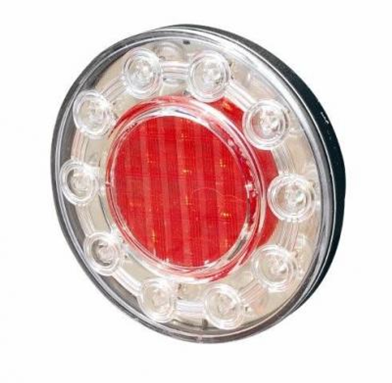 100mm Round Stop, Tail Light. LED's are Red in the inner and outer of the light.