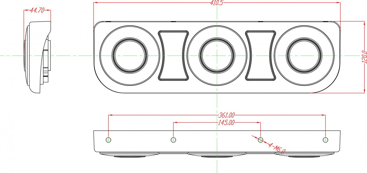 Line Drawing, Housing Dimension: 410 x 120 x 45mm