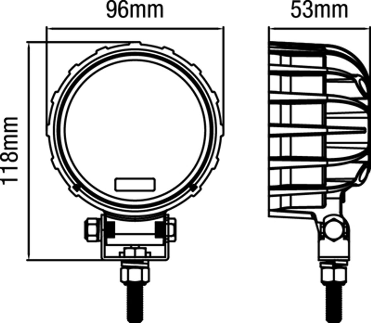MARINE GRADE LED LIGHT. FLOOD BEAM. 16 Watt.4 inch Round