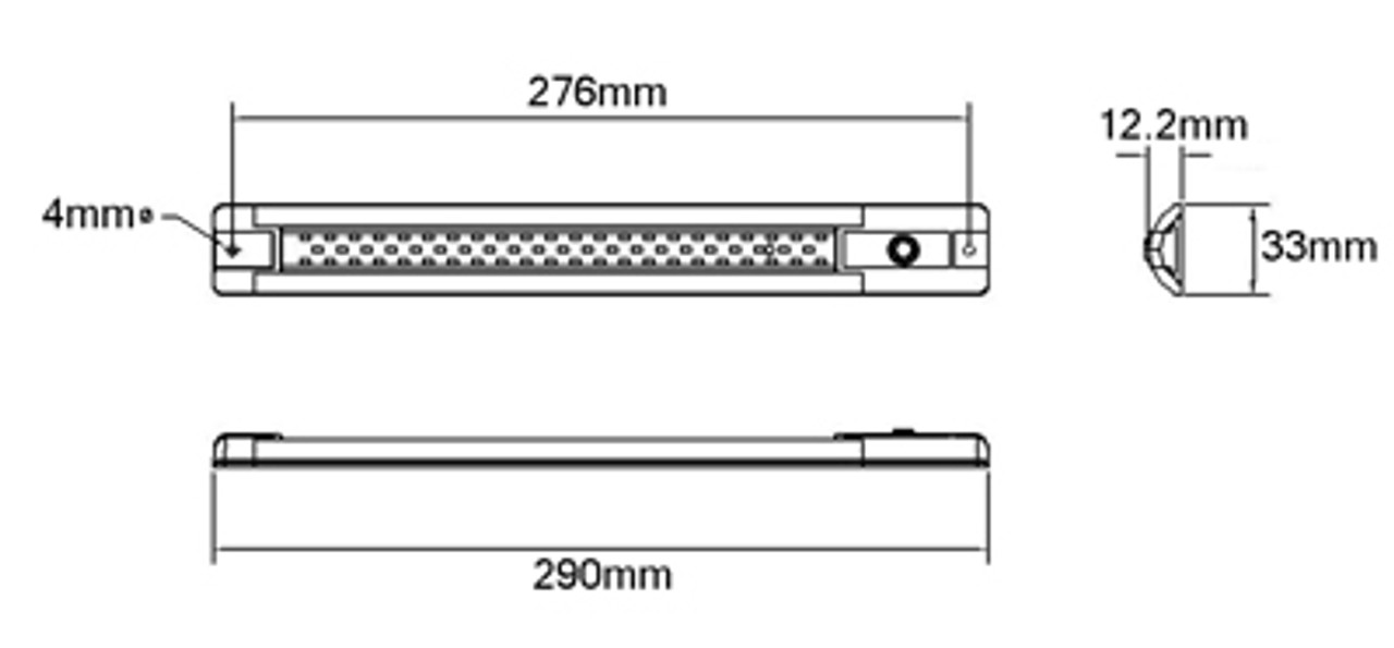 Line Drawing - ISLS290MV Interior LED Strip Lamp. Slim and Narrow Unit. Multi-Volt 10v & 24 Volts DC. Push Button On & Off Switch. Single Pack. Tough Unit, Alloy Housing. Length is 290mm Long. 4 watt light. 3 Year Warranty. RoadVision. Ultimate LED.