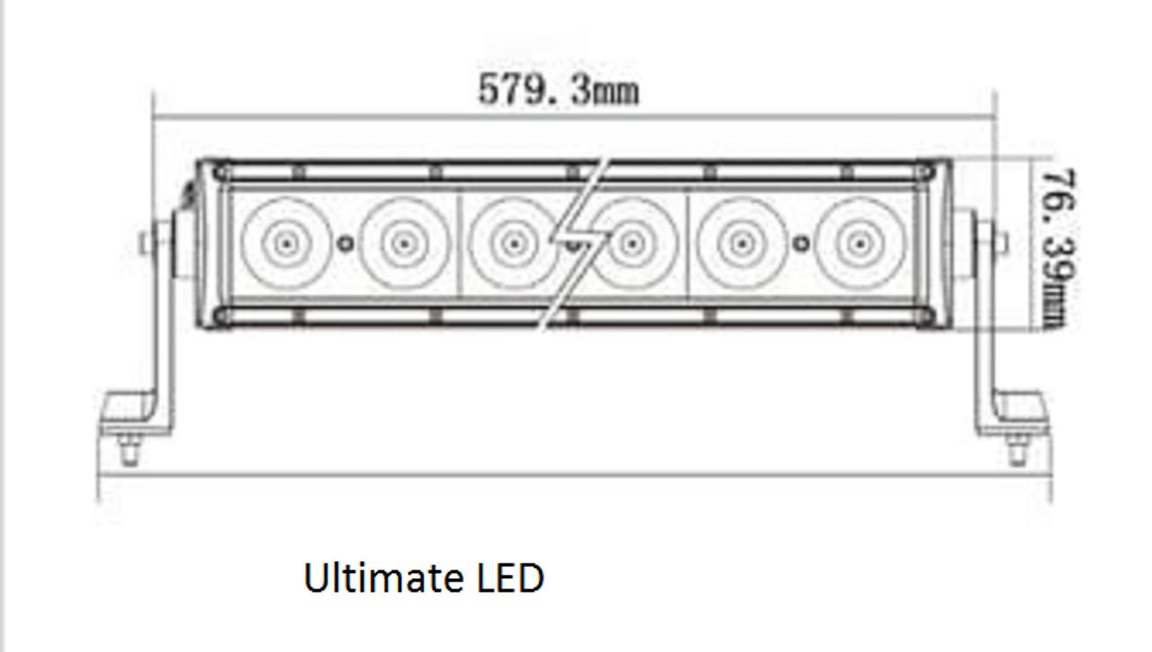 Line Drawing - BBL5100C - Combination LED Driving Light Bar 22 Inch 100 Watt Multi-Volt. RoadVision. Ultimate LED.