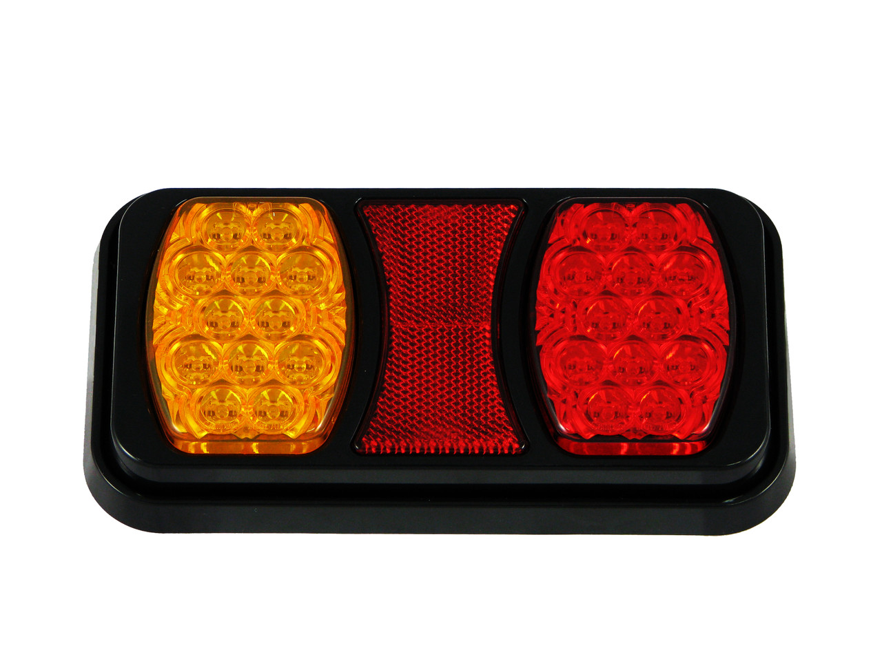 Compact LED Tail Light. Stop, Tail Indicator Lamp with built-in Reflectors. Quality, Tough Light. Caravan Friendly. Multi-Volt 12 & 24 Volt Systems. BR80AR. Twin Module LED Light.  Truck, Trailer, Ute  or Caravan Tail Light Assembly. Built-in Reflector. Great Quality Tail Light. Weather, Vibration and Dust Proof. Ultimate LED